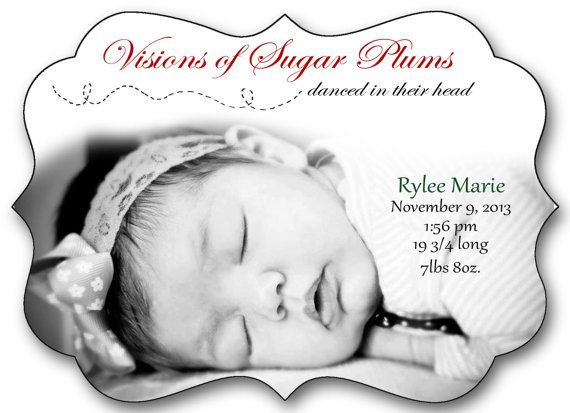Christmas Baby Announcement Double sided Ornate shaped Luxe Card – Baby Announcement Cards Etsy