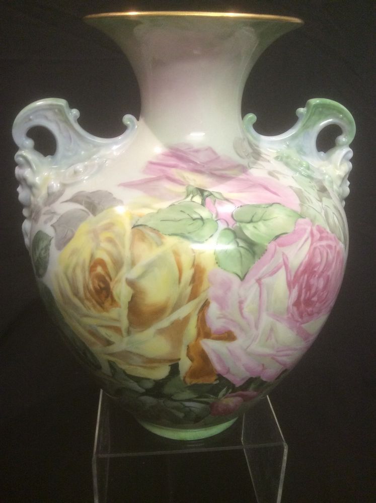 Antique CAC Belleek Vase Cupid Handles Hand Painted Roses