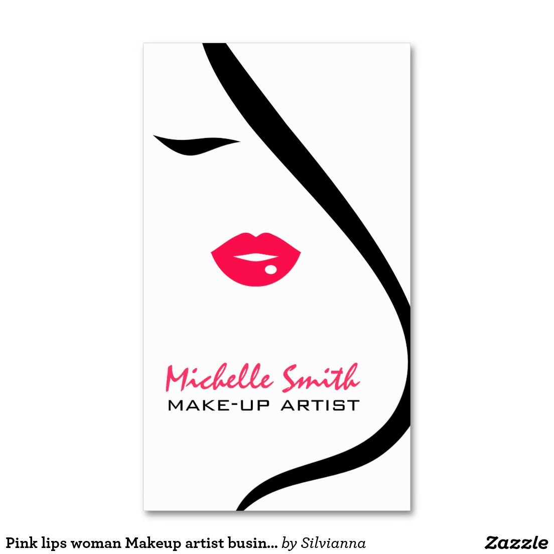 Pink lips woman makeup artist business card design business cards pink lips woman makeup artist business card design business cards alramifo Image collections