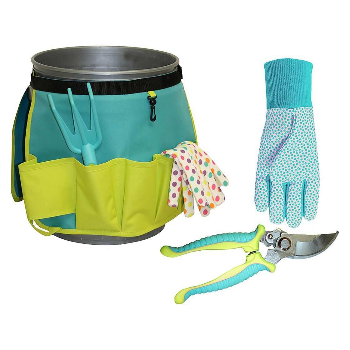 Bucket Organizer, Jersey Canvas Gloves and Garden Pruner
