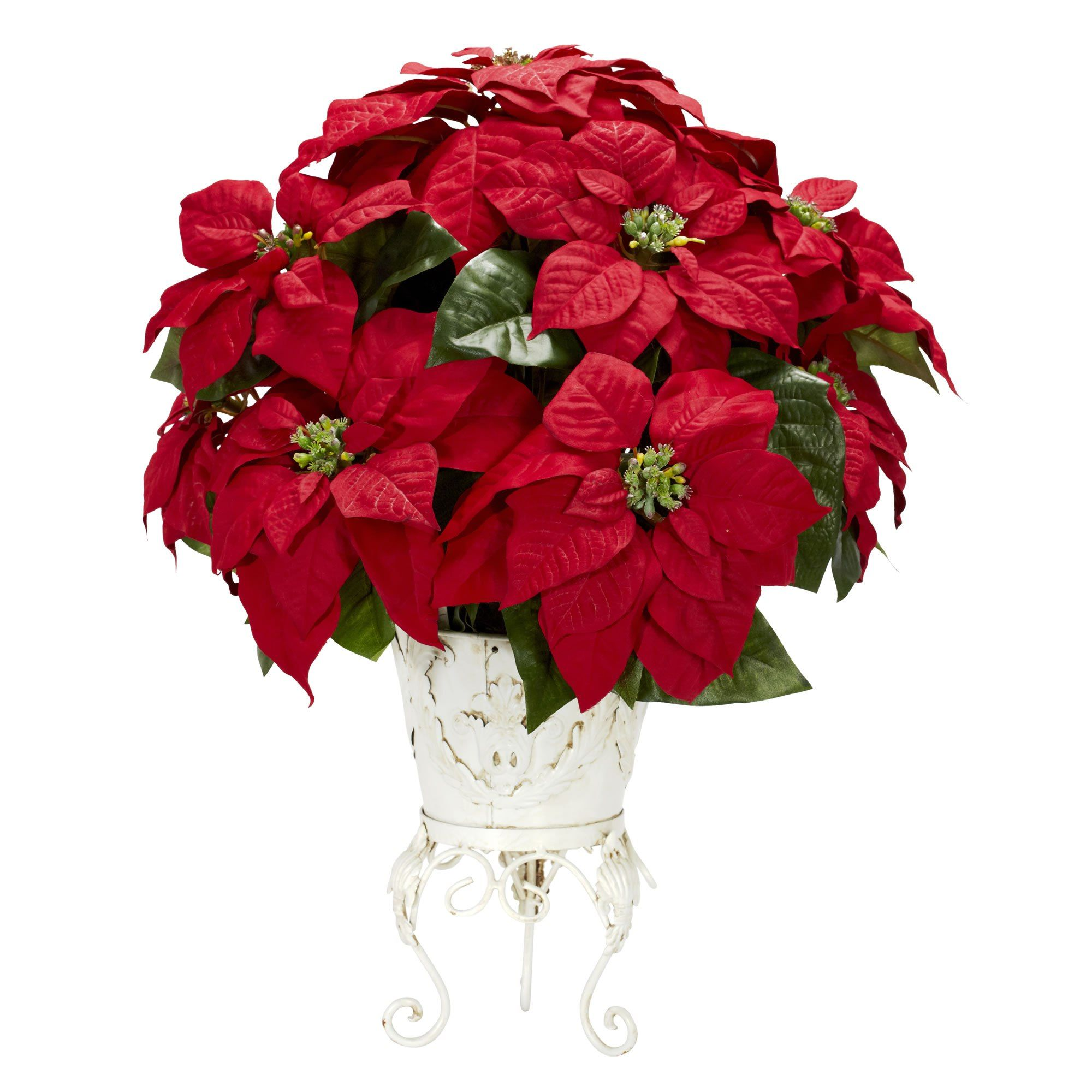 "21""H Poinsettia w/Metal Planter Silk Flower Arrangement"