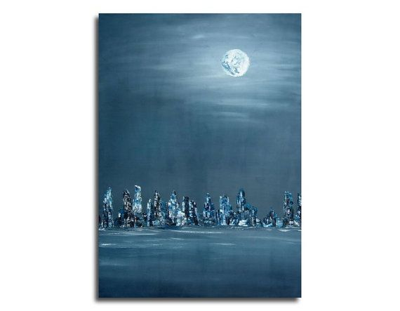"""Oil painting - Full moon over the city - Original blue night cityscape - Blue, grey, white moon oil painting on canvas - 27,6"""" x 19,7"""""""