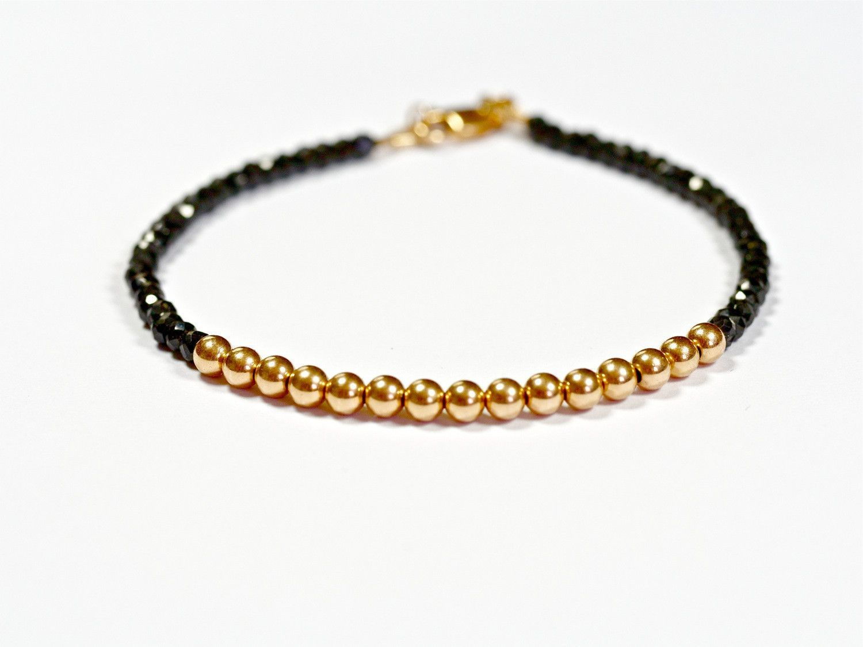 Black spinel and k rose gold bead bracelet mm women and menus