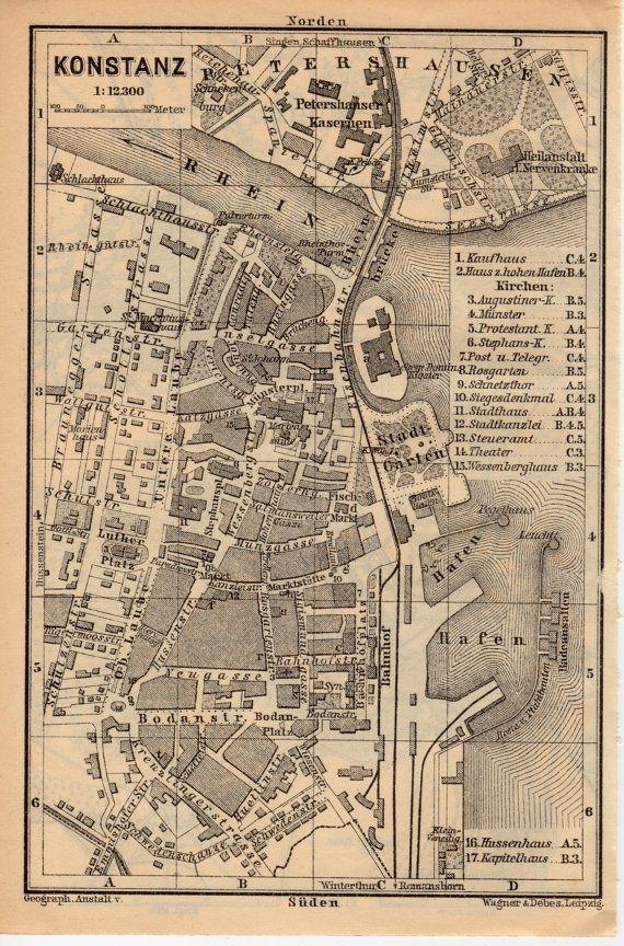 1907 Konstanz Germany Antique Map Constance Lake Constance