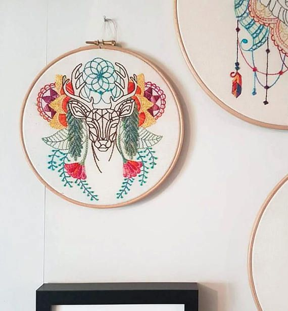 Abstract Deer Embroidery Hoop Colourful Modern Hand Trending