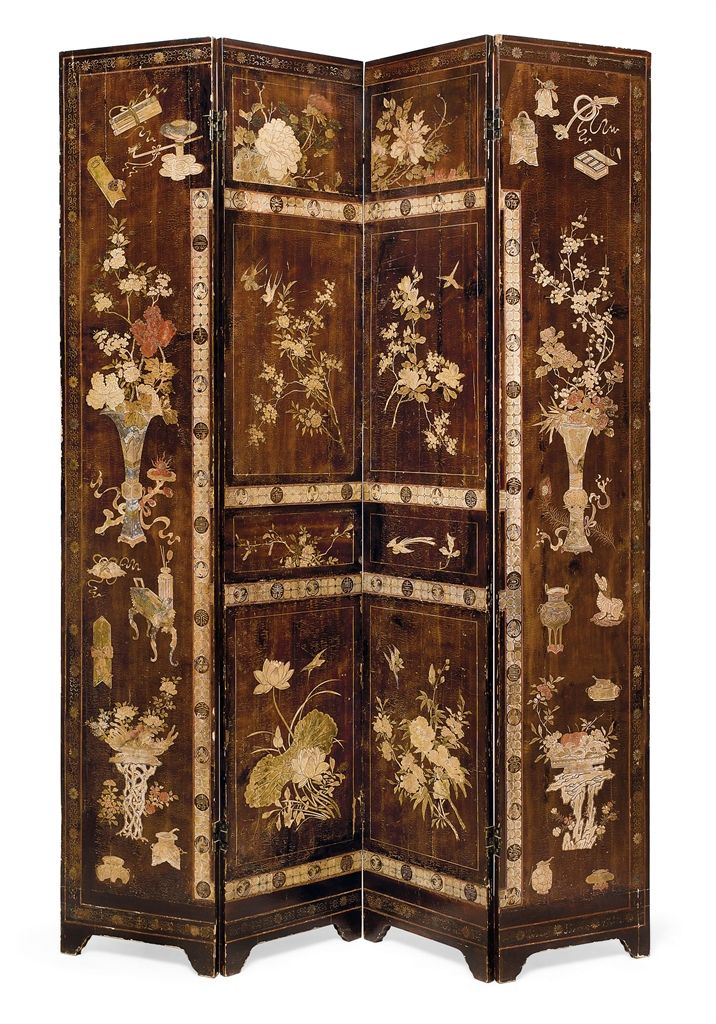 A CHINESE COROMANDEL LACQUER FOURFOLD SCREEN 19TH CENTURYBy