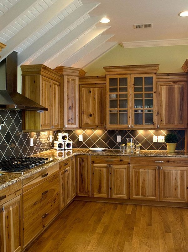 Kitchen decor ideas rustic kitchen hickory cabinets wood floor tile backsplash i like color of - Rustic wooden kitchen cabinet ...