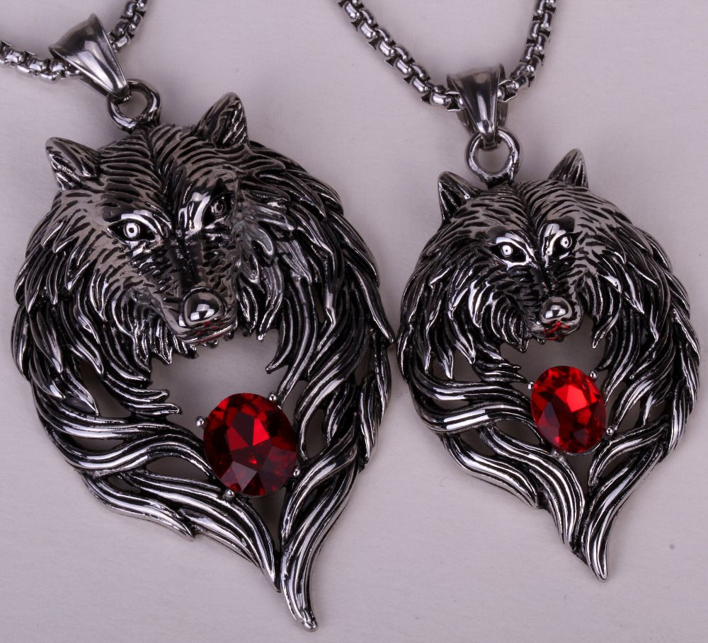 Couple necklace stainless steel wolf pendants w chain valentine day couple necklace stainless steel wolf pendants w chain valentine day gifts 316l dropshipping gn41 mozeypictures Choice Image