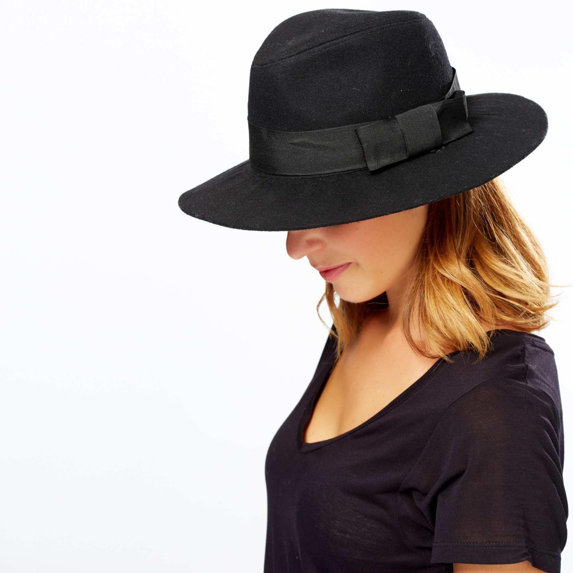 Sombrero negro con lazo de fantasía negro Mujer 89cc0bc7737