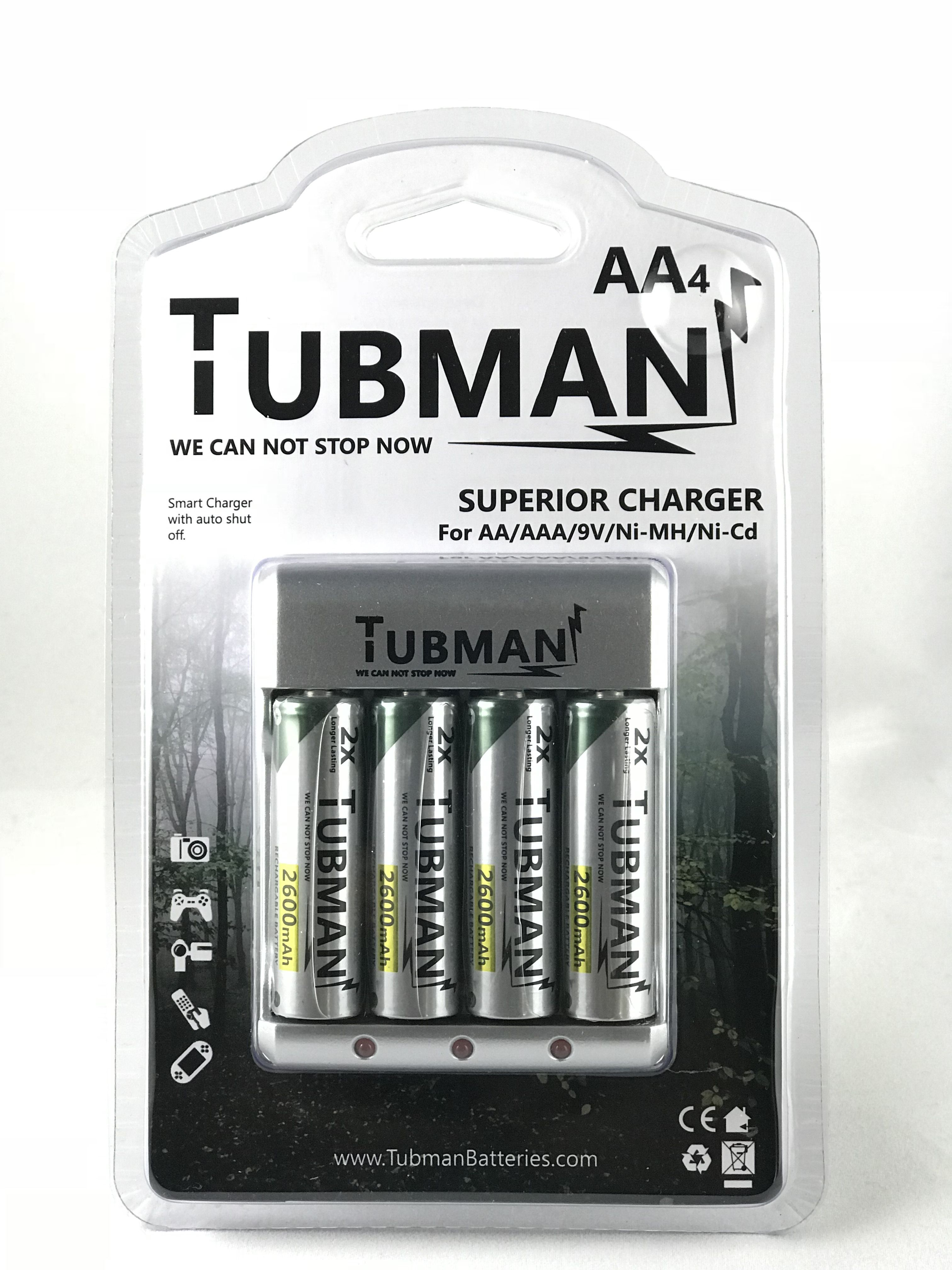 Tubman Battery 4 Aa Rechargeable Batteries With Charger Rechargeable Batteries Charger Batteries