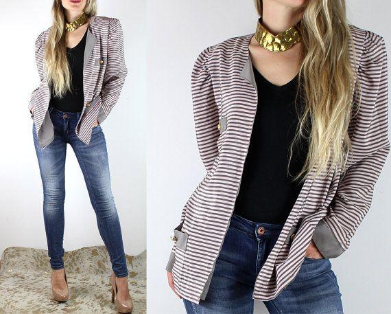 80s Light Silky FRENCH Blazer Jacket/Striped by VintageDeMar