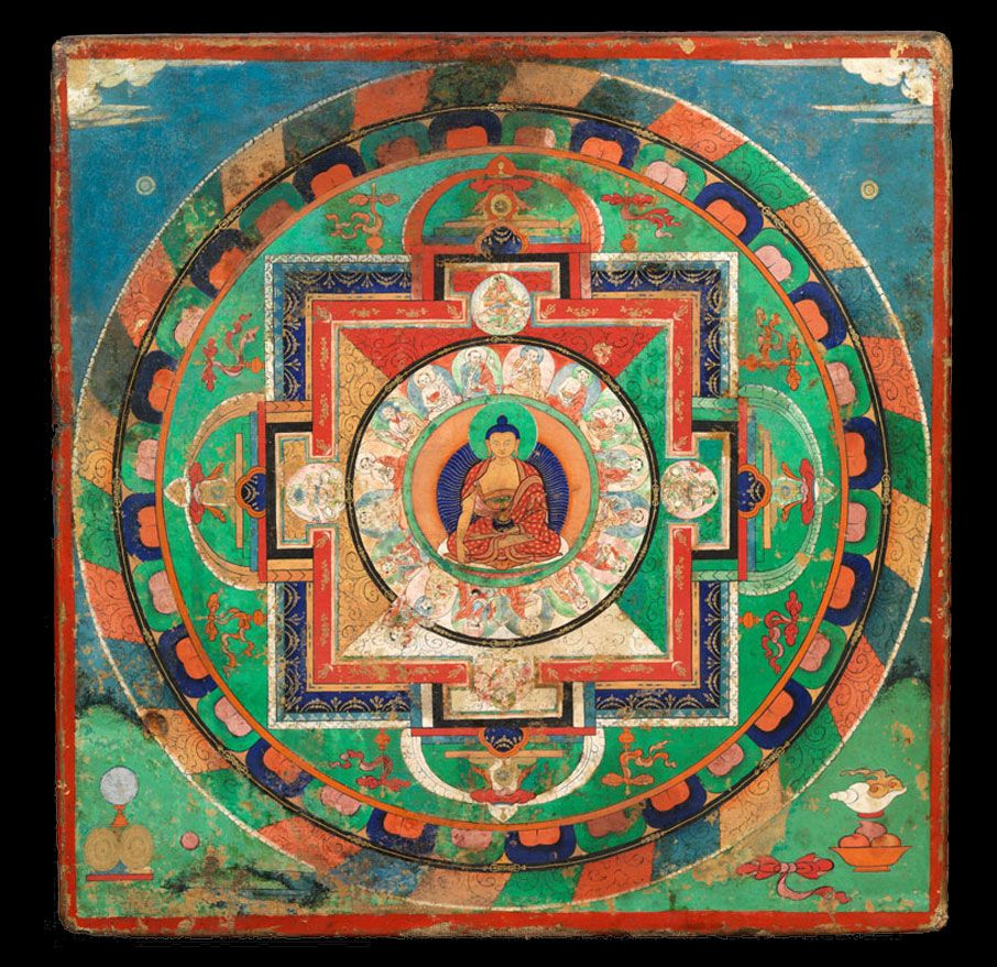 MANDALA OF BUDDHA SAKYAMUNI WITH ARHATS Tibet 18th Century Pigments On Cloth Mounted Wood 36