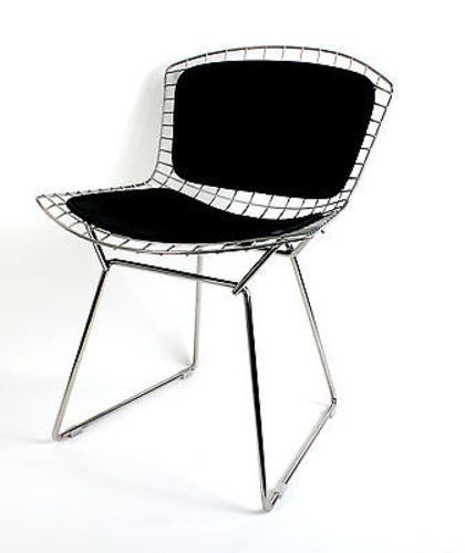 Bertoia Style Wire Side Chair with Leather back and seat pads