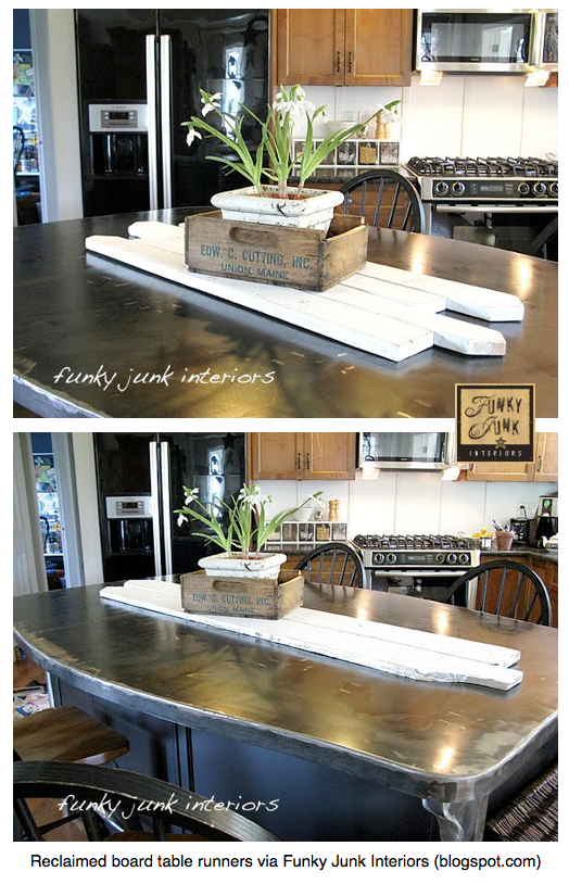 Use reclaimed boards as a table runner - couldn't be easier! via Funky Junk Interiors