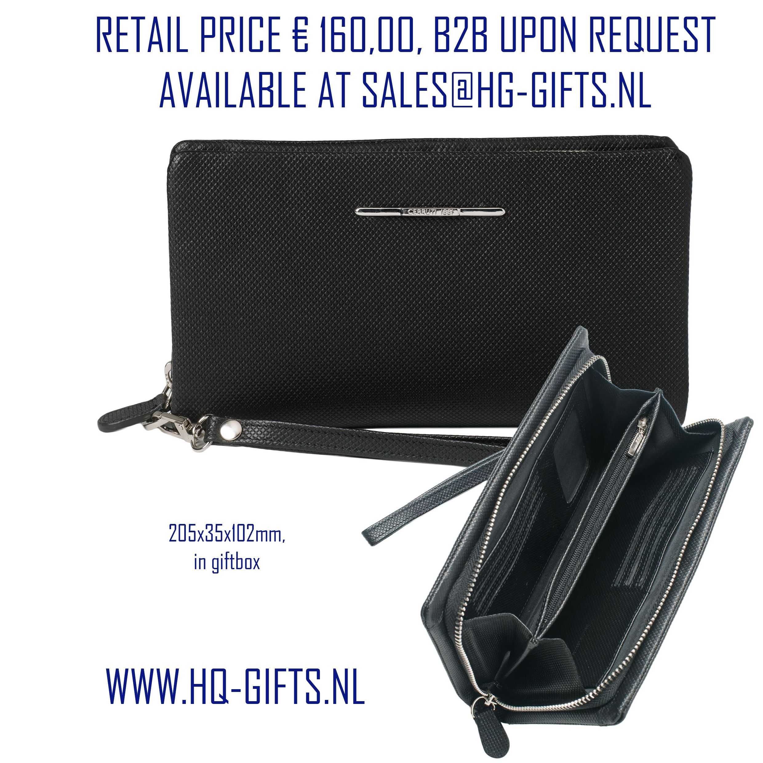 This beautiful black leather travel wallet by Cerruti 1881 suits all your important travel documents It offers space for eight credit cards and has two compartments for bills. With its simple, elegant and convenient design makes it the ideal accessory for business. The Cerruti 1881 'Real' line offers also a passport holder, cabin size trolley, wallets and stationery.
