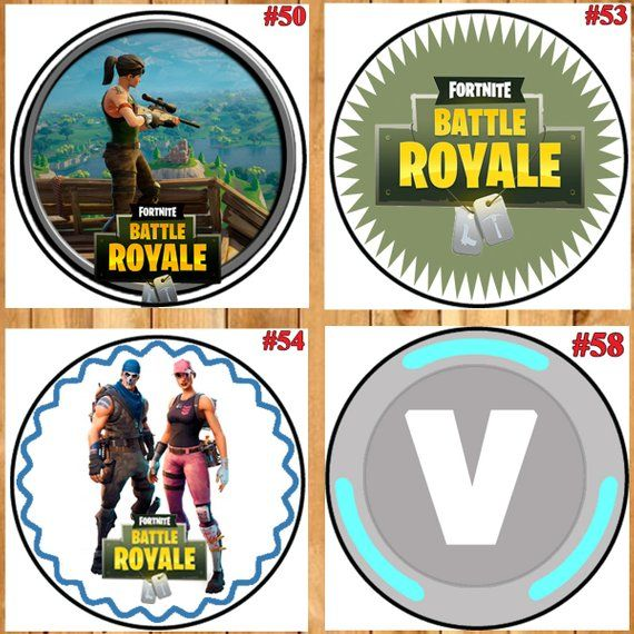 Fortnite Birthday Cupcake Toppers Round Size 2 Instant Download You