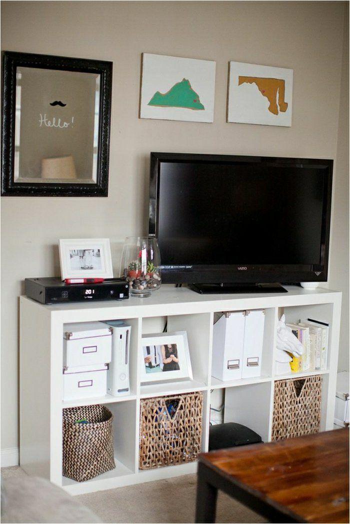 Le Meuble Tele En 50 Photos Des Idees Inspirantes Deco Maison Kallax Ikea Meuble Kallax