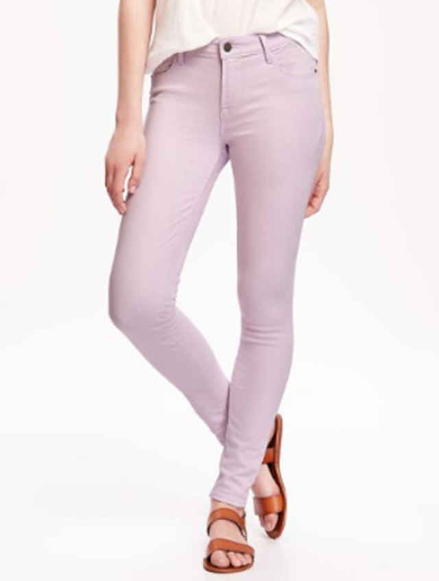 5c612bd82628e Cute and affordable lavender skinny jeans are styled three ways. Learn how  to wear lilac colored jeans with our outfit ideas.
