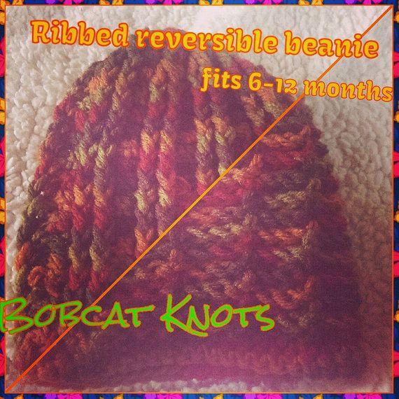Crocheted ribbed reversible beanie by BobcatKnots on Etsy