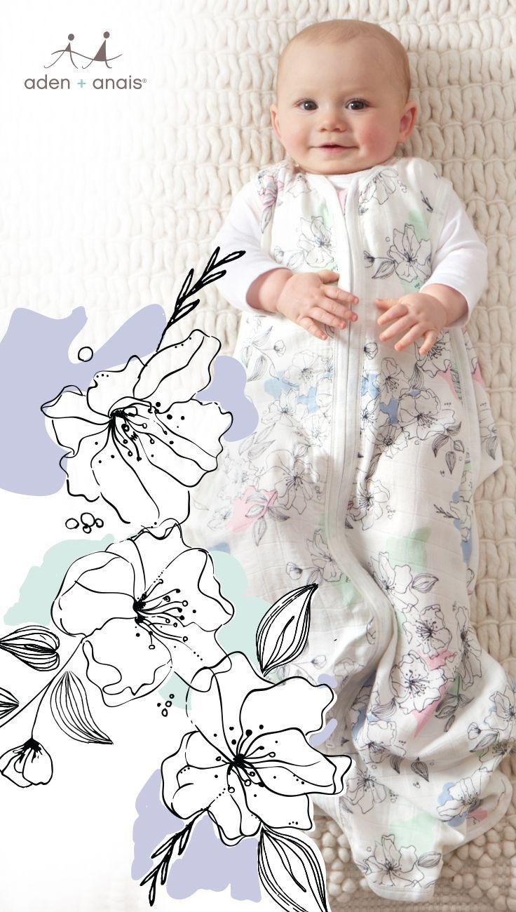 18-36M Baby BNIP Anais SILKY SOFT SLEEPING BAG Aden WATERCOLOUR GARDEN