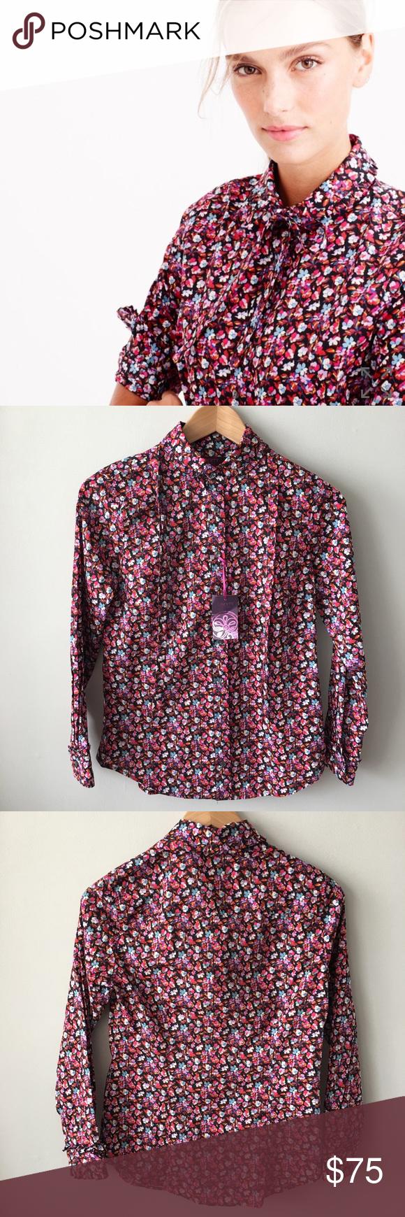 J. Crew Tie-Neck Tuxedo Shirt -Liberty Art Fabric NWT | Camisas ...