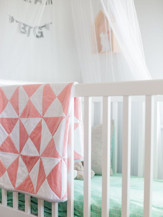 Hand quilted Baby Blanket with Scandi flowers by EmpireEcoDesigns