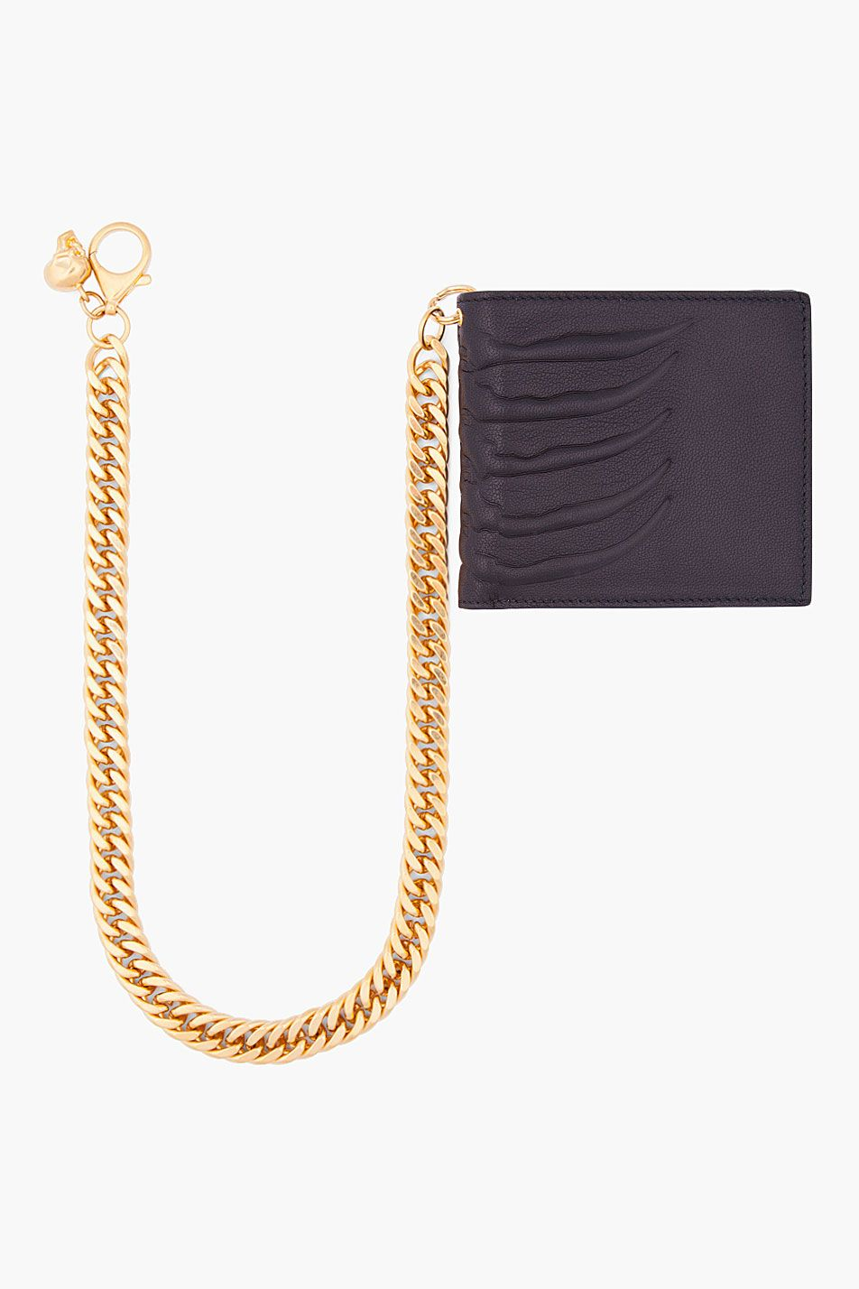 ALEXANDER MCQUEEN //  BLACK LEATHER RIBS CHAIN WALLET
