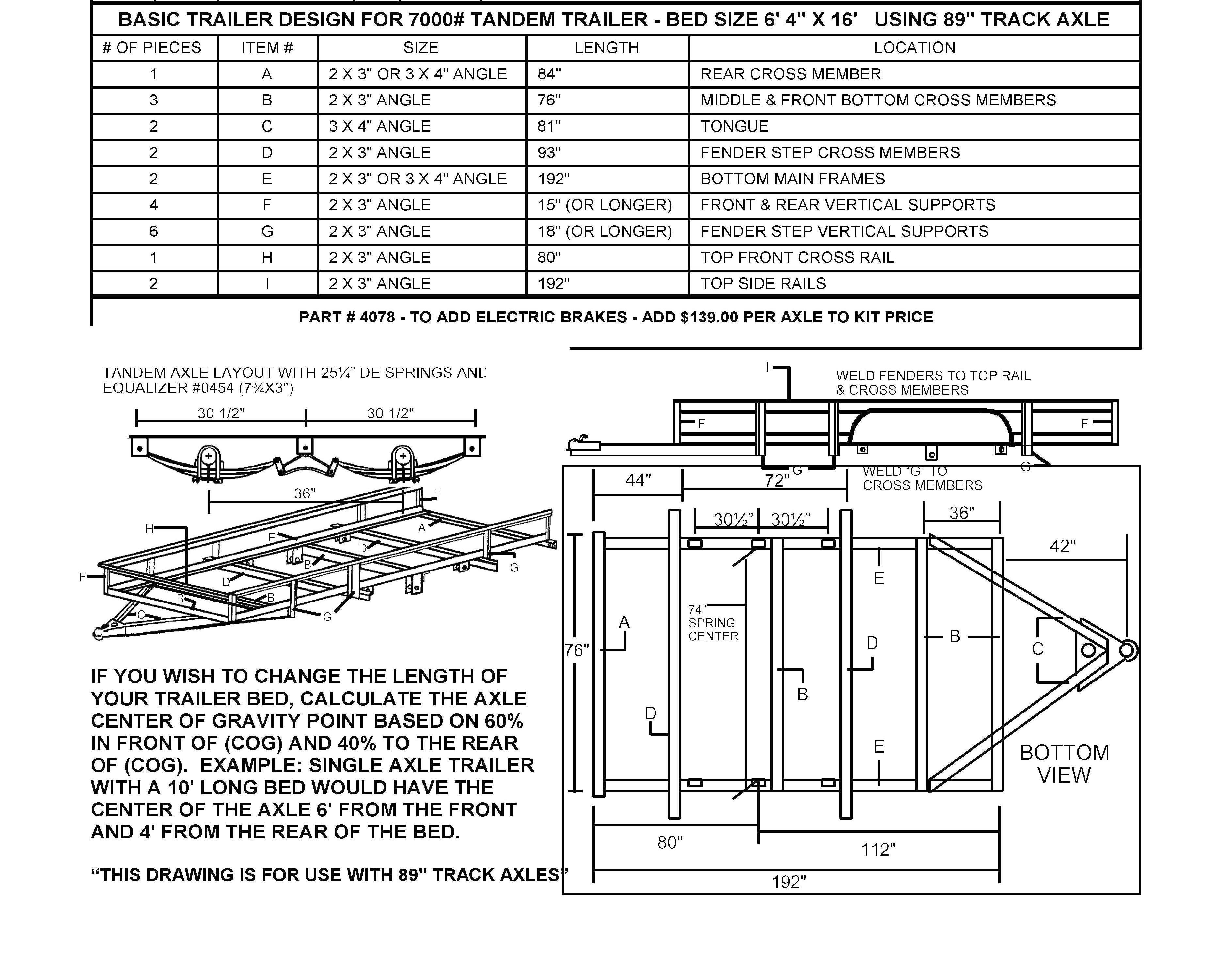 95 Tandem Trailer Parts Kit 7 000lbs Gvwr Utility Trailer Trailer Plans Trailer Kits