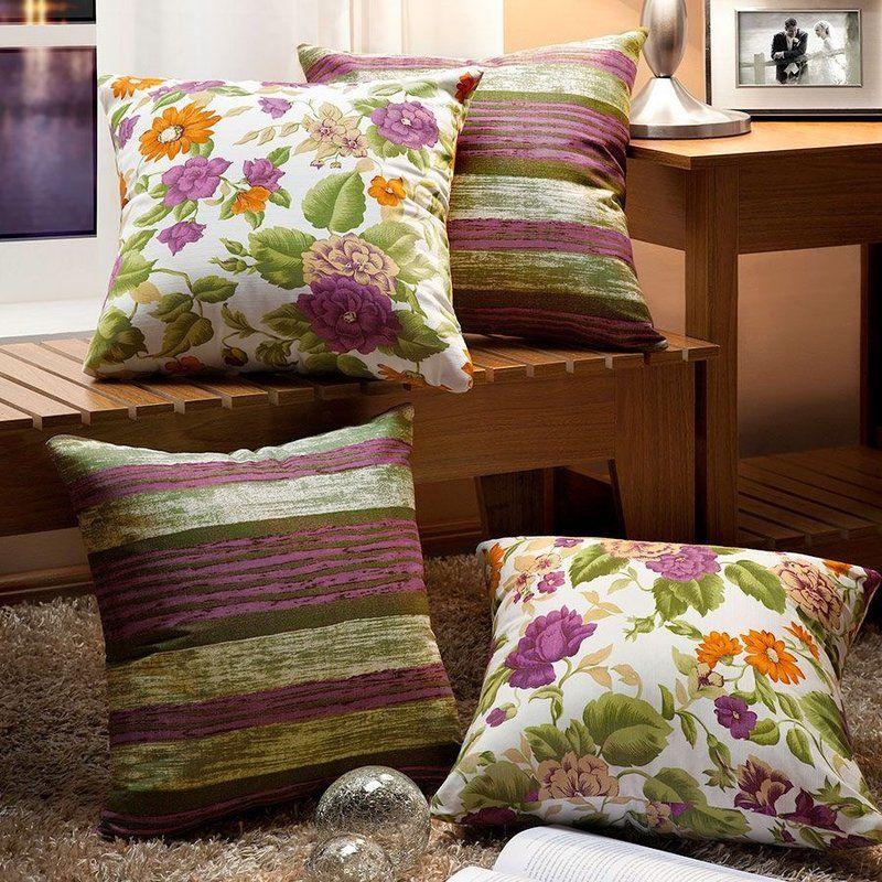 5768121fc598bb Esse belíssimo Kit Almofadas Decorativas Essenciale Roxo Floral - 04 ...