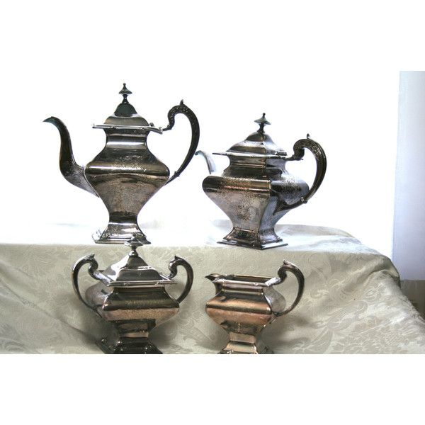 Vintage Art Deco Silver Plated Tea Set Silver Derby Co, Art Deco... (€280) ❤ liked on Polyvore featuring home and kitchen & dining