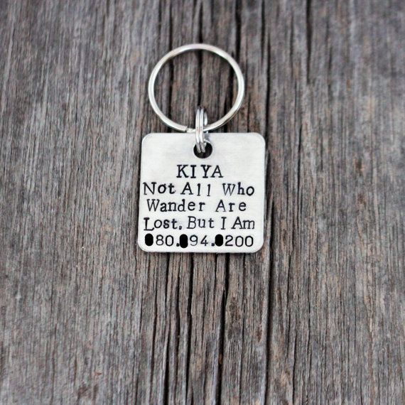 Hand stamped dog ID tag / Not all who by FireflyLaneStamping