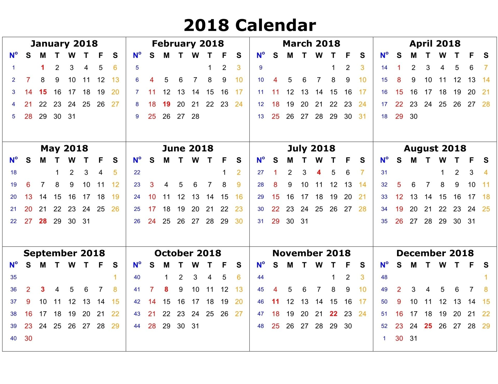 free 2018 calendar with holidays to print