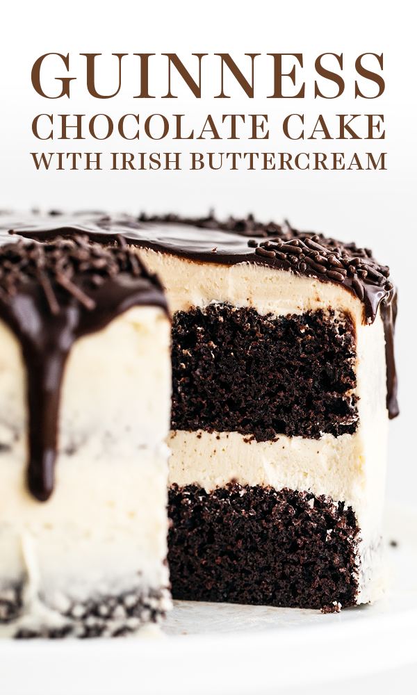 Guinness Chocolate Cake with Irish Buttercream features an easy, fudgy, and moist cocoa cake with Guinness beer and thick creamy, sweet Irish cream buttercream. The perfect St. Patrick's Day or a birthday dessert recipe! #guinnesscake #chocolatecake #stpatricksdaydessert #cakesanddeserts