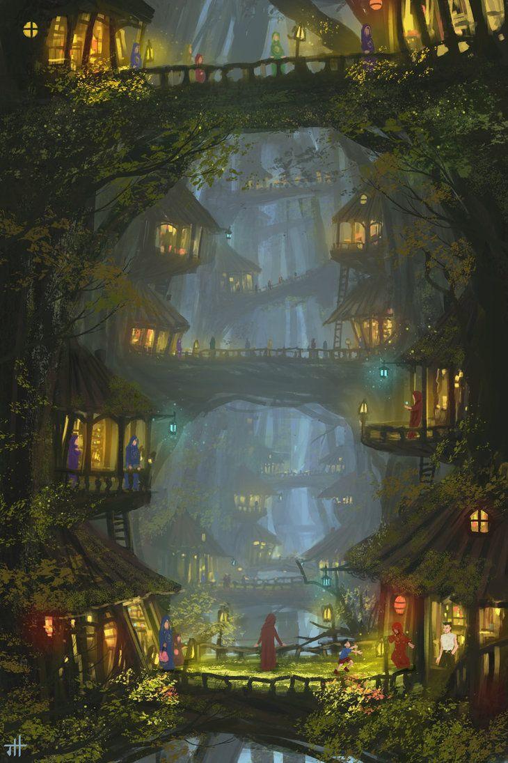 Tree Village House Forest Elf Landscape Location