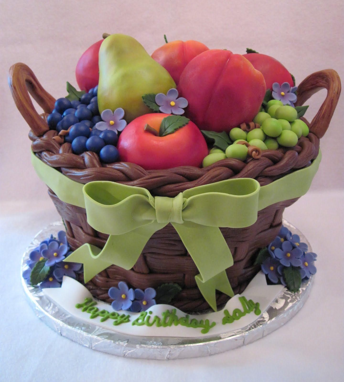 Fruit basket cake fruit cake design realistic cakes