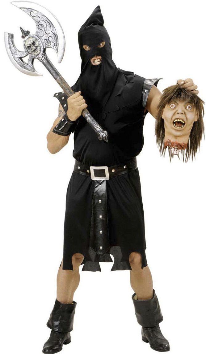 Costume boia uomo: Questo travestimento per Halloween da boia è composto da un vestito lungo intero fino alle ginocchia di colore nero.La cintura è assortita all'abito.Il passamontagna è di...