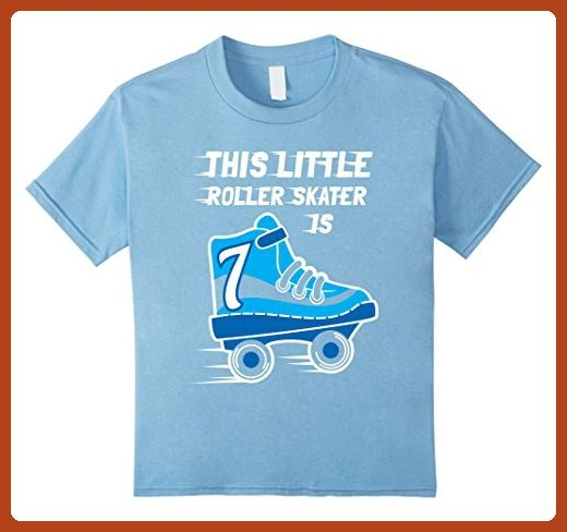 Kids 7th Birthday Boys RollerSkate T Shirt Skate 7 Year Old 6 Baby Blue