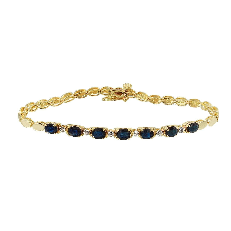 Ladies ctw sapphire and diamond k yellow gold bracelet products