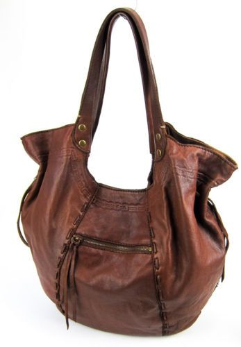 6a44dcf52a Lucky Brand Brown Lamb Leather Large Hobo BAG Handbag Purse Awesome ...