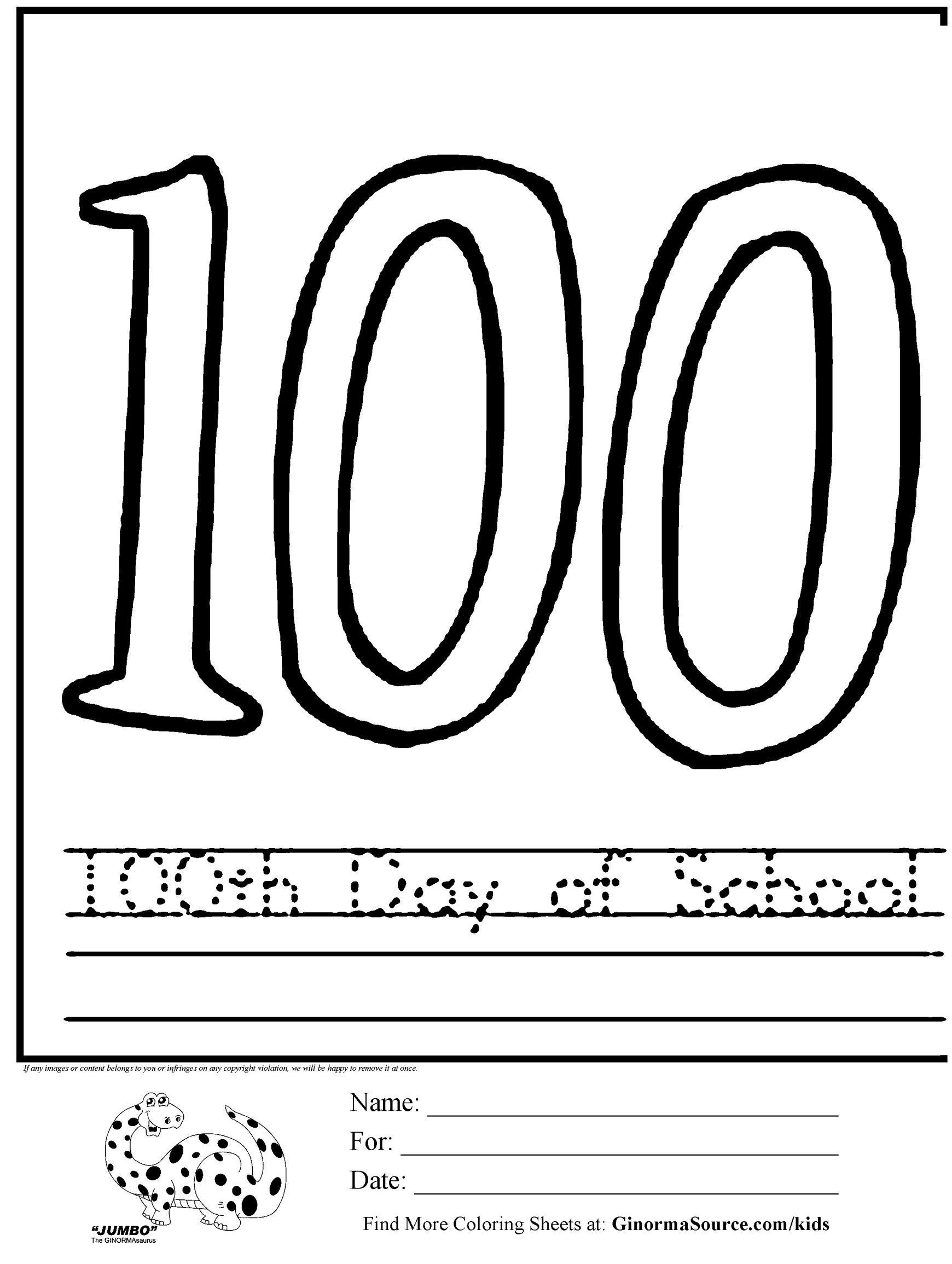 Exclusive Photo Of 100th Day Of School Coloring Pages