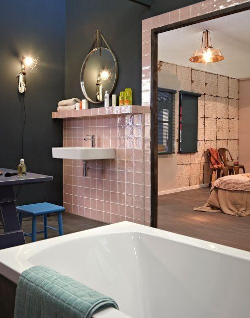 salle de bains zelliges roses vtwonen via Nat et nature MOSAÏQUE - mosaique rose salle de bain
