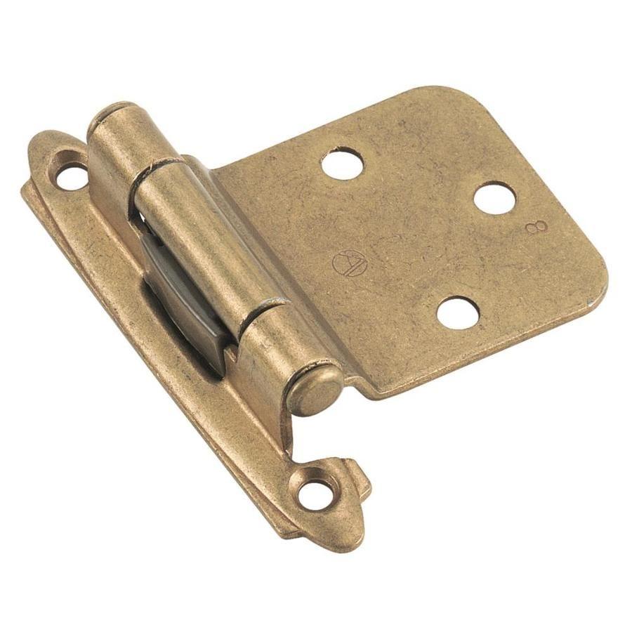 Amerock 2 Pack Adjustable Burnished Brass Self Closing Self Closing Cabinet Hinge Lowes Com In 2020 Overlay Hinges Hinges For Cabinets Amerock