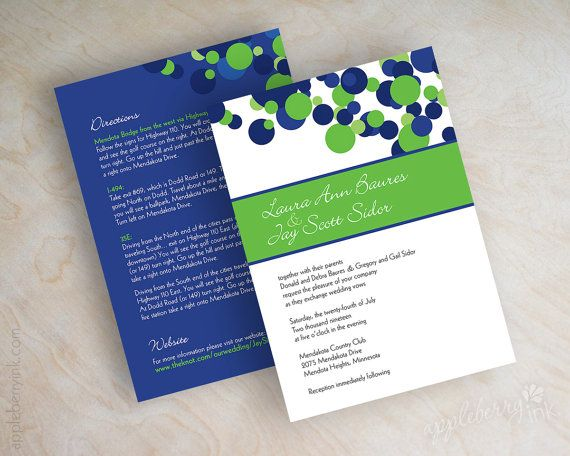 Appleberry Ink Polka Dot Wedding Invitations Royal Blue And Lime Green Shown