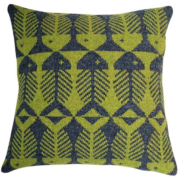 Image of Herringbone Knit Pillow - Green on Charcoal