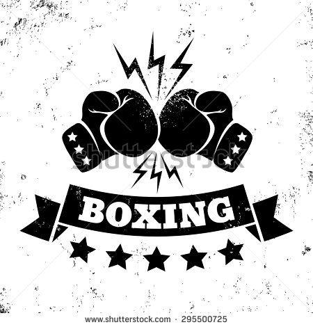 Vintage logo for a boxing on grunge background  b0001233117