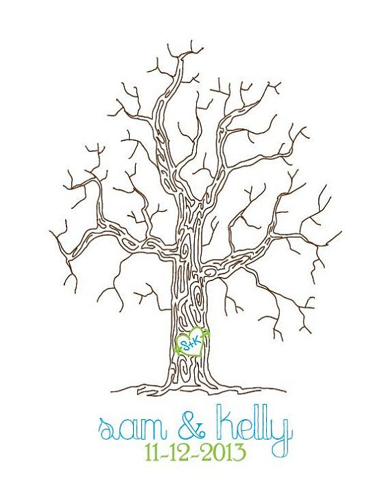 Thumbprint Wedding Tree Fingerprint guest. Have blue and green fingerpaints there for guests to print with.