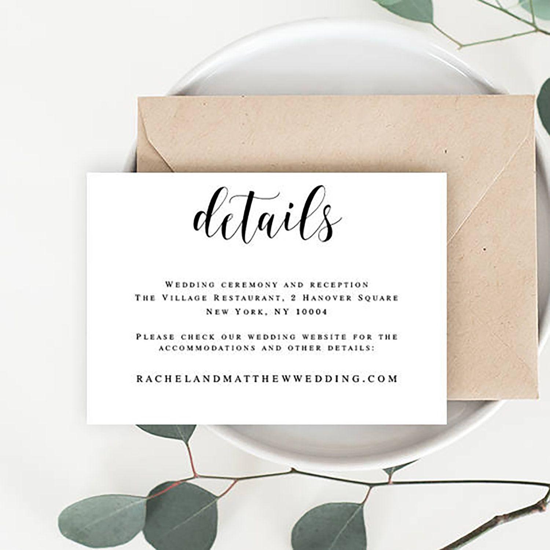 Wedding Details Card Calligraphy Details Template Wedding Etsy Rsvp Wedding Cards Wedding Cards Wedding Acceptance Card