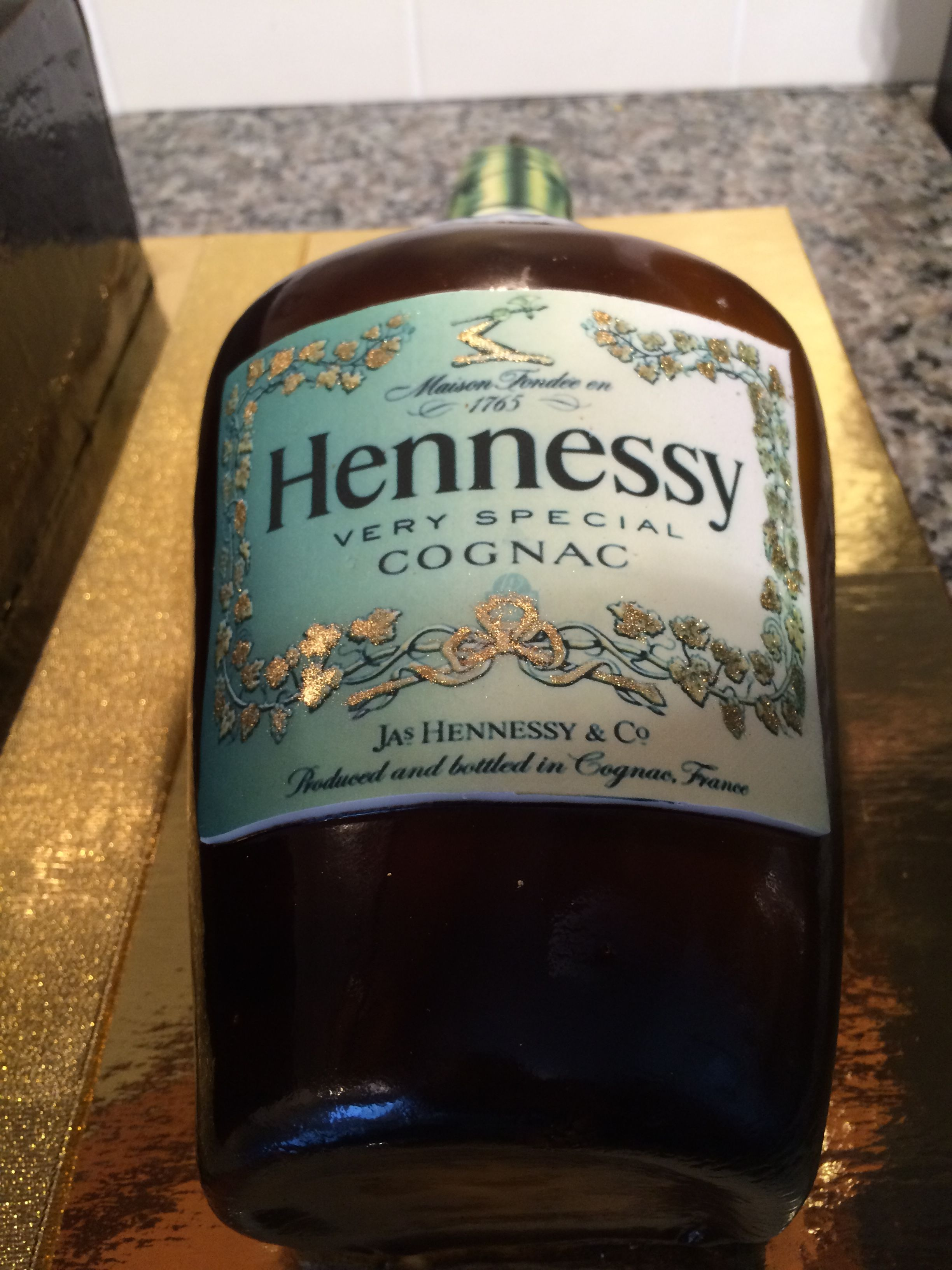 Hennessey bottle cake - labels were photoshopped and printed
