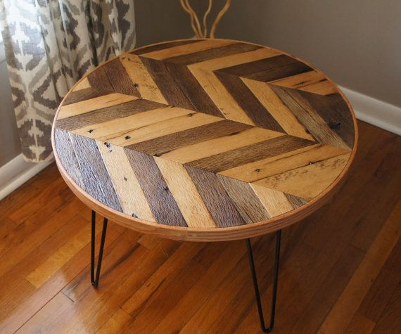 Round Wood Hairpin Coffee Table: Round Chevron Patterned Coffee Table