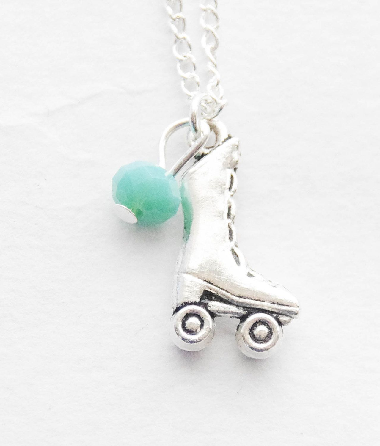 Birth Stone Necklace Mom Gift Roller Skate Necklace Roller Derby Necklace Roller Derby Gift Roller Derby Charm Jewelry Rockabilly Necklace by SmittenKittenKendall on Etsy